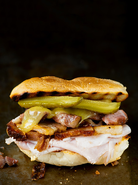 Close Up Of Rustic Cuban Cubano Sandwich