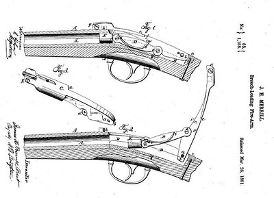 20,954 RE 1158 - Improvement in Firearms, assigned to the Merrill Patent Firearms Mfg Co (March 26, 1861)