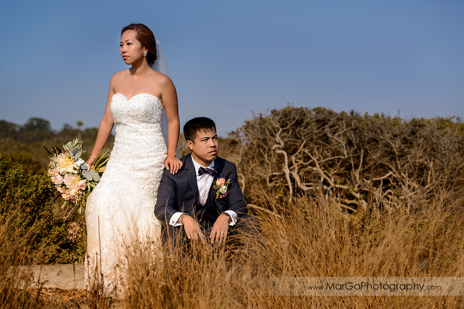glamour shoot of bride and groom at the University of California, Santa Cruz