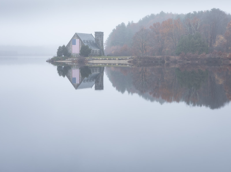 Old Stone Church in the fog