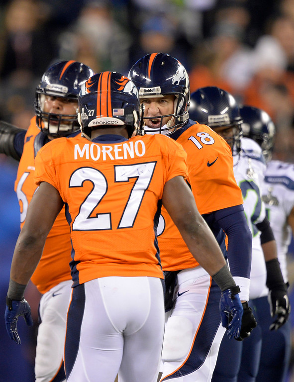 . Denver Broncos quarterback Peyton Manning (18) and Denver Broncos running back Knowshon Moreno (27) Denver Broncos running back Knowshon Moreno (27). The Denver Broncos vs the Seattle Seahawks in Super Bowl XLVIII at MetLife Stadium in East Rutherford, New Jersey Sunday, February 2, 2014. (Photo by John Leyba/The Denver Post)