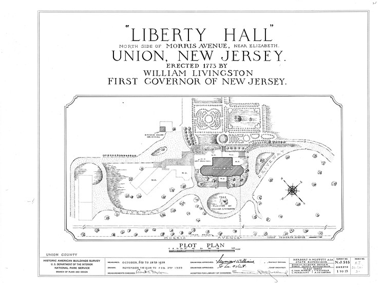 Architectural plans of the grounds of Liberty Hall. This work was done as part of the Historic American Buildings Survey (HABS) in 1938 as part of the WPA.