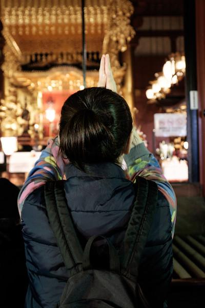Praying at Sensoji Temple in Asakusa