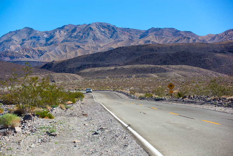 Highway 190 crossing Panamint Valley in Death Valley National Park