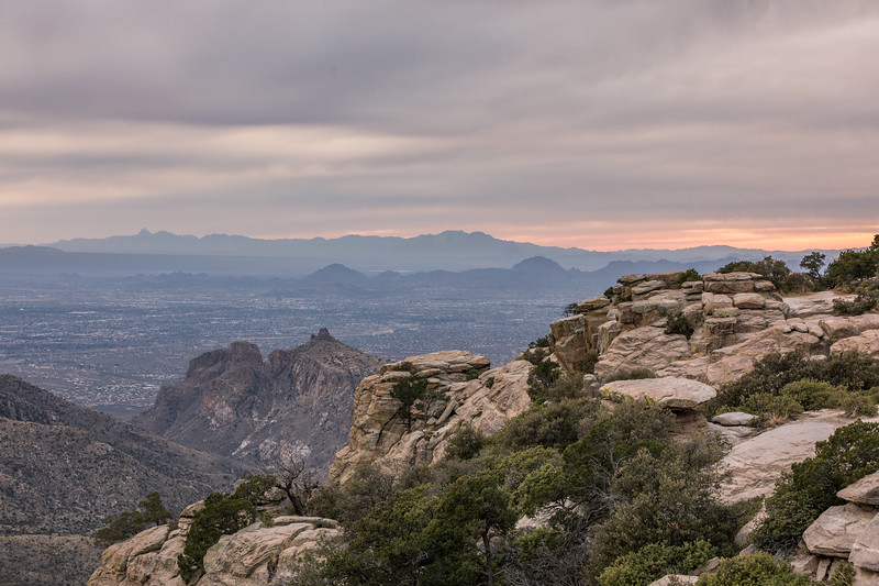 Looking from Windy Point Vista, over the smaller range of Tucson Mountain Park and Western Saguaro National Park, towards are larger range in the distance. Maybe Kitt Peak?