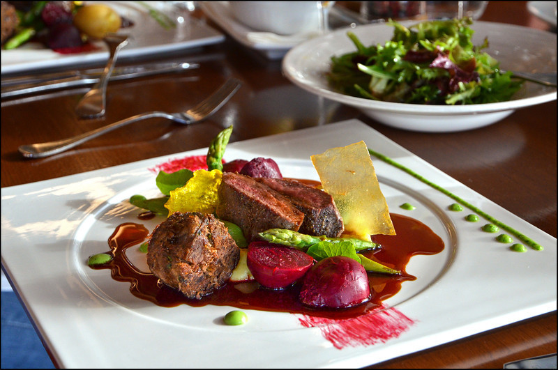 Roasted loin of Doo Town venison, beetroots, asparagus, potato puree, red wine jus