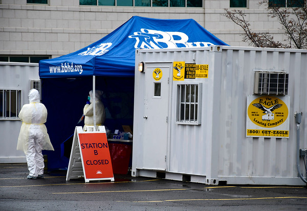 3/19/2020 Mike Orazzi | Staff Bristol Hospital's outdoor specimen collection station for the Coronavirus at the Queen Street entrance on Thursday.