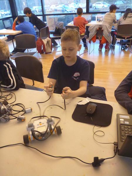 Aaron at a robotics workshop