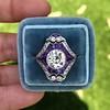 2.27ct (est) Art Deco Old European Cut Diamond with Amethyst Halo Ring 35