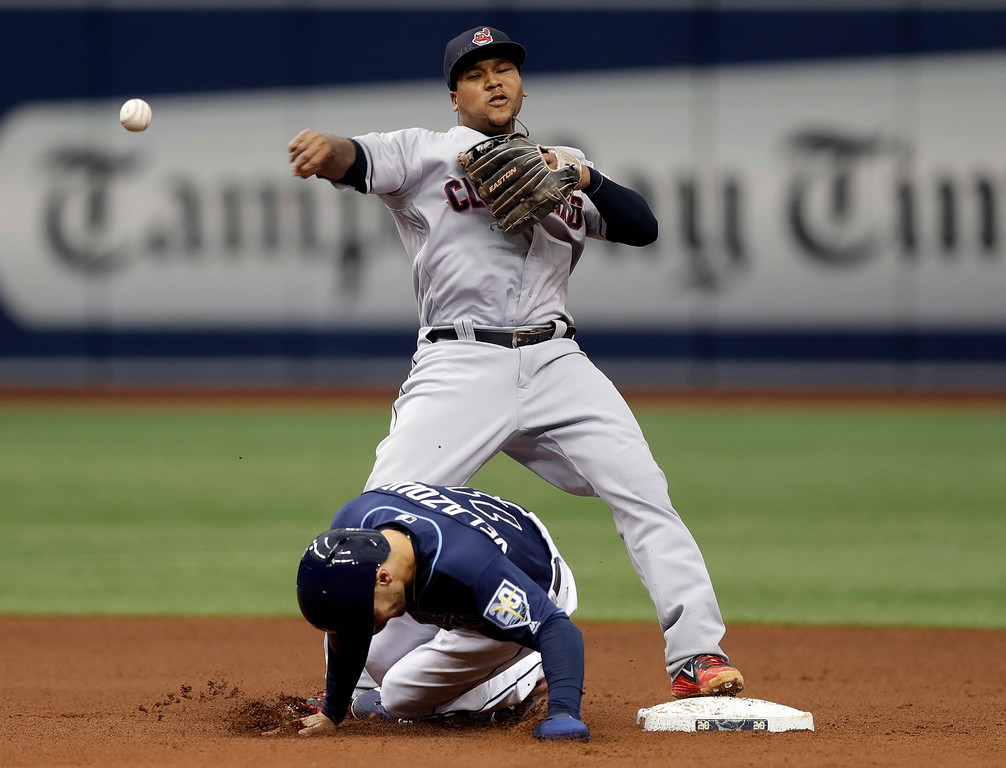 . Cleveland Indians second baseman Jose Ramirez forces Tampa Bay Rays\' Andrew Velazquez (11) at second base on a fielder\'s choice by Mallex Smith during the fifth inning of a baseball game Wednesday, Sept. 12, 2018, in St. Petersburg, Fla. (AP Photo/Chris O\'Meara)