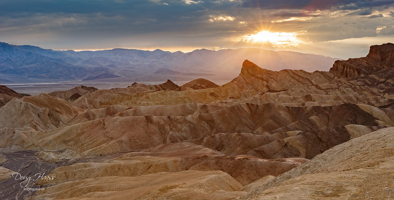 Zabriskie Point with Manly Beacon to the right at sunset