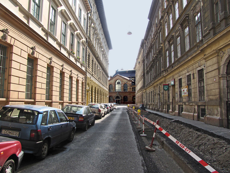 45-Looking south on Gonczy Street to the Great Market Hall. Mind the trench!