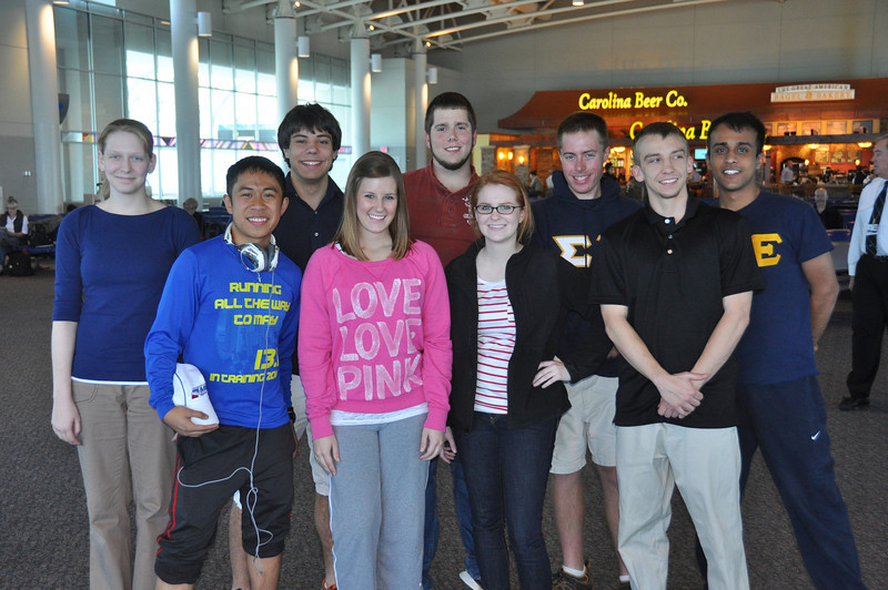 Our crew ready to jump on the transatlantic US Air jet.