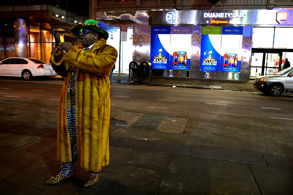 . Hawk Daddy in fur and Seahawks colors shows up early for the Today Show on January 31, 2014, New York, NY. (Photo By Joe Amon/The Denver Post)
