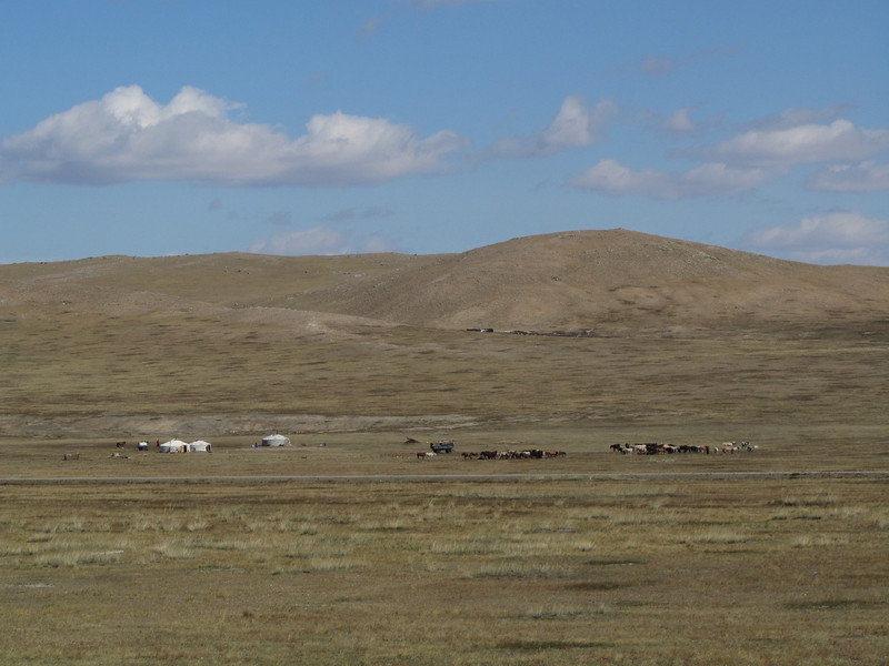 We see the first Mongolian gers...