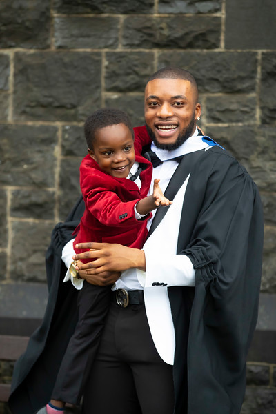 31/10/2019. FREE TO USE IMAGE. Waterford Institute of Technology (WIT) Conferring Ceremonies. Pictured is Tunde Ogunfowora from Carlow who graduated BA Hons in Applied Social Studies in Social Care, also pictured is  his nephew Stephen Falola . Picture: Patrick Brown