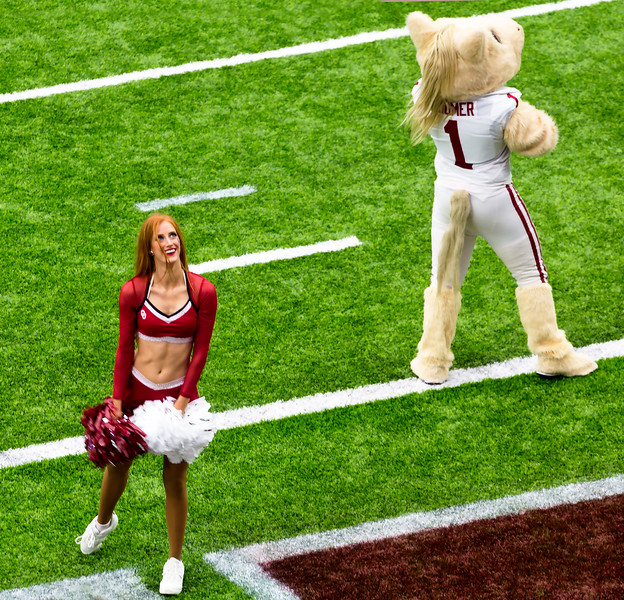 An Oklahoma dancer and the Sooner Mascot