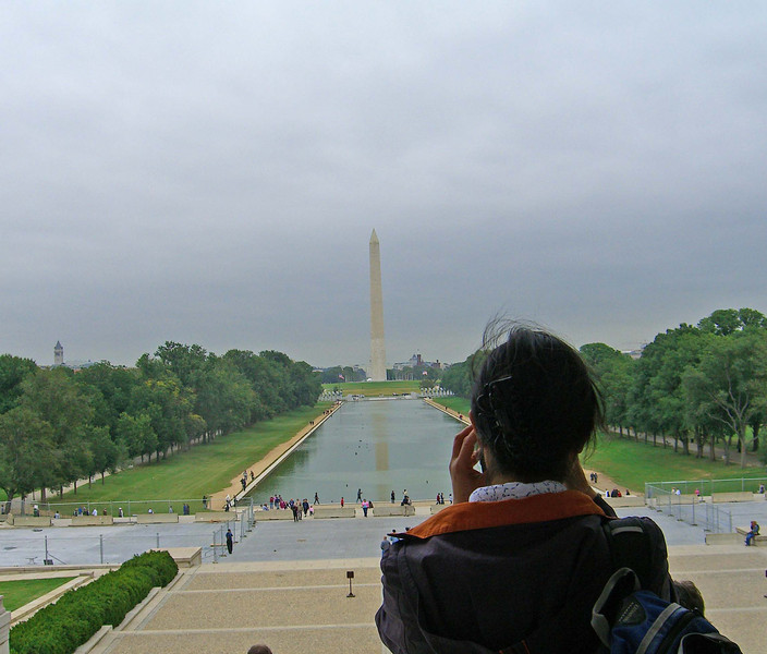 """Fei Fei from the steps of the Lincoln Memorial, on these steps in August, 1963, Martin Luther King, Jr. gave his famous """"I have a Dream"""" speech"""