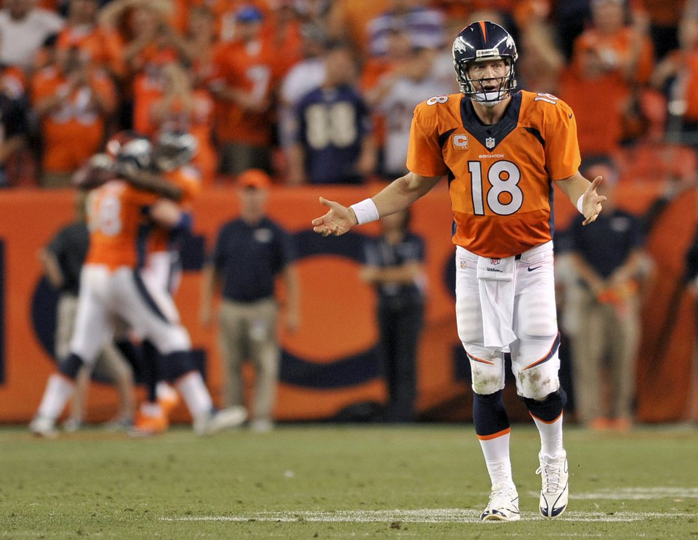 """. <p>5. (tie) PEYTON MANNING  <p>Where were all these touchdowns against the Ravens when he needed them in January? (unranked) <p><b><a href=\'http://www.usatoday.com/story/sports/nfl/2013/09/06/peyton-manning-joe-kapp-seven-touchdowns-baltimore/2777325/\' target=\""""_blank\""""> HUH?</a></b> <p>    (AP Photo/Jack Dempsey)"""