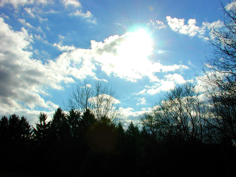 Sun playing peek-a-boo.