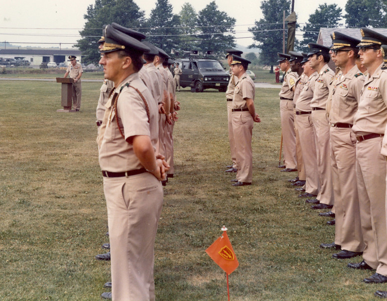 1st Region ARADCOM inactivation ceremony July or Aug 1974.  All Battalions and Groups within the Region cased there colors during this ceremony.