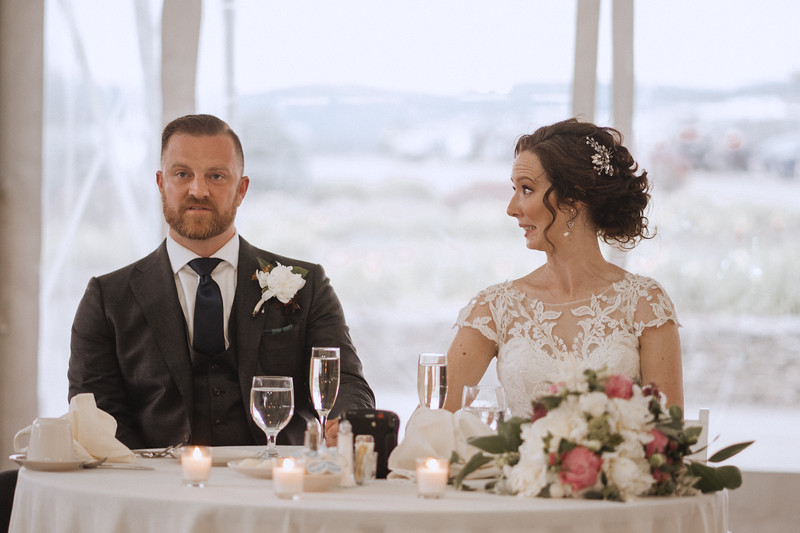 The bride looks at the groom in horror while he sneers.