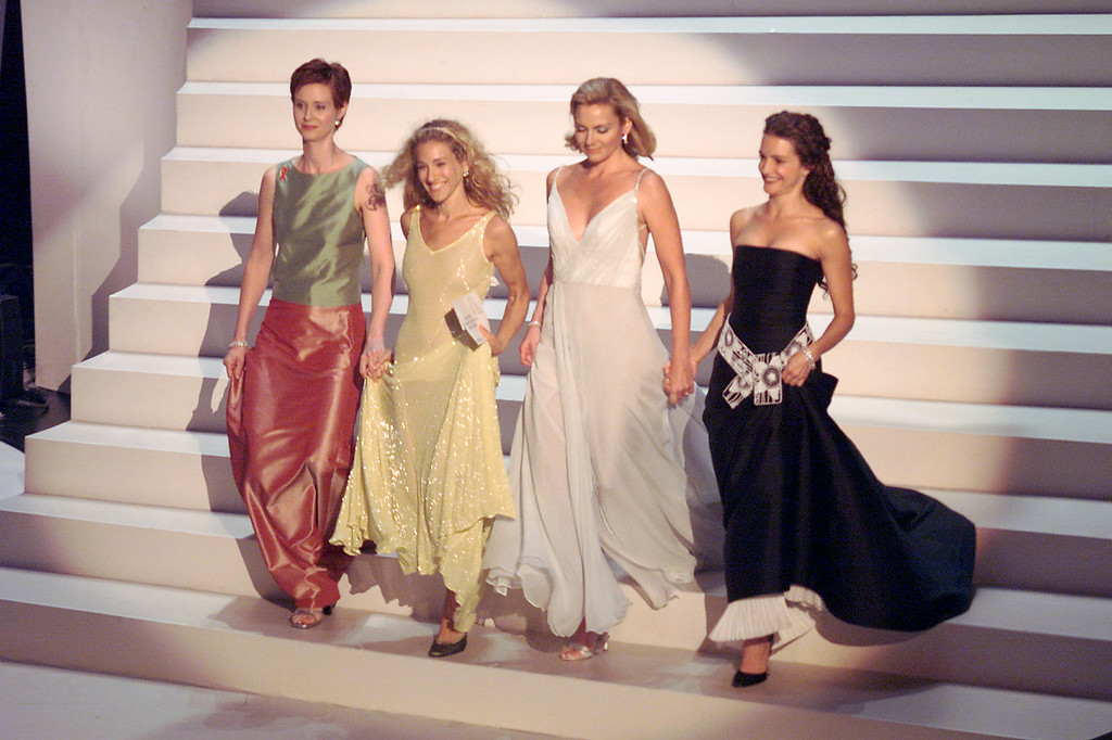 . Cynthia Nixon, Sarah Jessica Parker, Kim Cattrall, and Kristin Davis of \'Sex in the City\' at the 1999 Emmy Awards held in Los Angeles, CA 9/13/99  Photo by Frank Micelotta/Getty Images