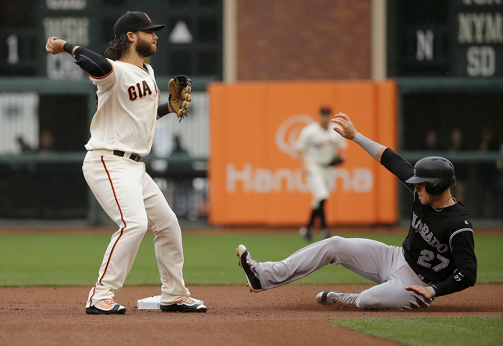 . San Francisco Giants shortstop Brandon Crawford, left, throws to first base after forcing Colorado Rockies\' Trevor Story (27) out at second base on a double play ball hit by Carlos Gonzalez during the first inning of a baseball game in San Francisco, Saturday, May 7, 2016. (AP Photo/Jeff Chiu)
