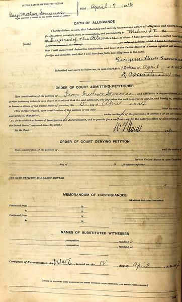 George Samonas Naturalization - Declaration of Intention Witness to George Jacob naturalization