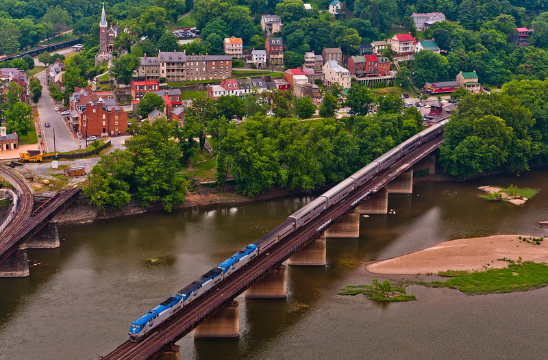 View of Railroad Bridge, Train and Harper's Ferry from Maryland Heights
