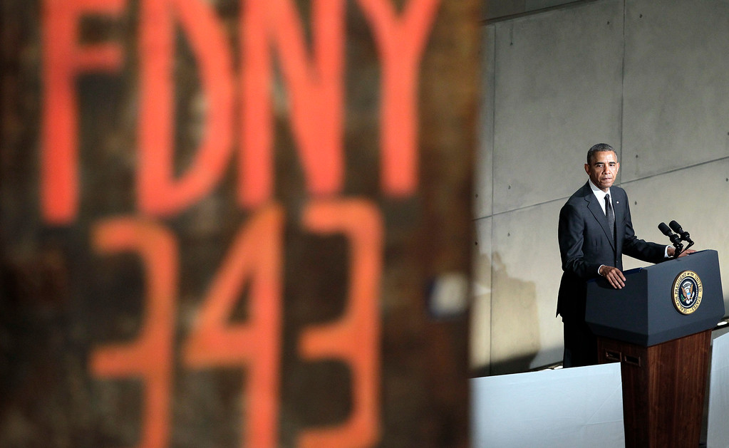 . President Barack Obama speaks at the dedication ceremony for the National September 11 Memorial Museum on Thursday, May 15, 2014 in New York. The museum opens to the public on May 21. (AP Photo/John Angelillo, Pool)