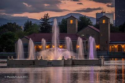 Denver City Park Ferril Fountain at Dusk