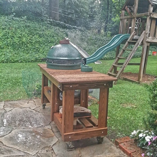Oh what fun it is to cook on the big green egg during a thunder storm #BGE #cookingintherain #notreallyfun
