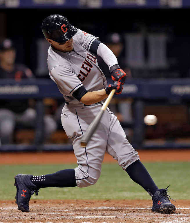 . Cleveland Indians\' Brandon Guyer lines a two-run double off Tampa Bay Rays pitcher Adam Kolarek during the sixth inning of a baseball game Monday, Sept. 10, 2018, in St. Petersburg, Fla. (AP Photo/Chris O\'Meara)