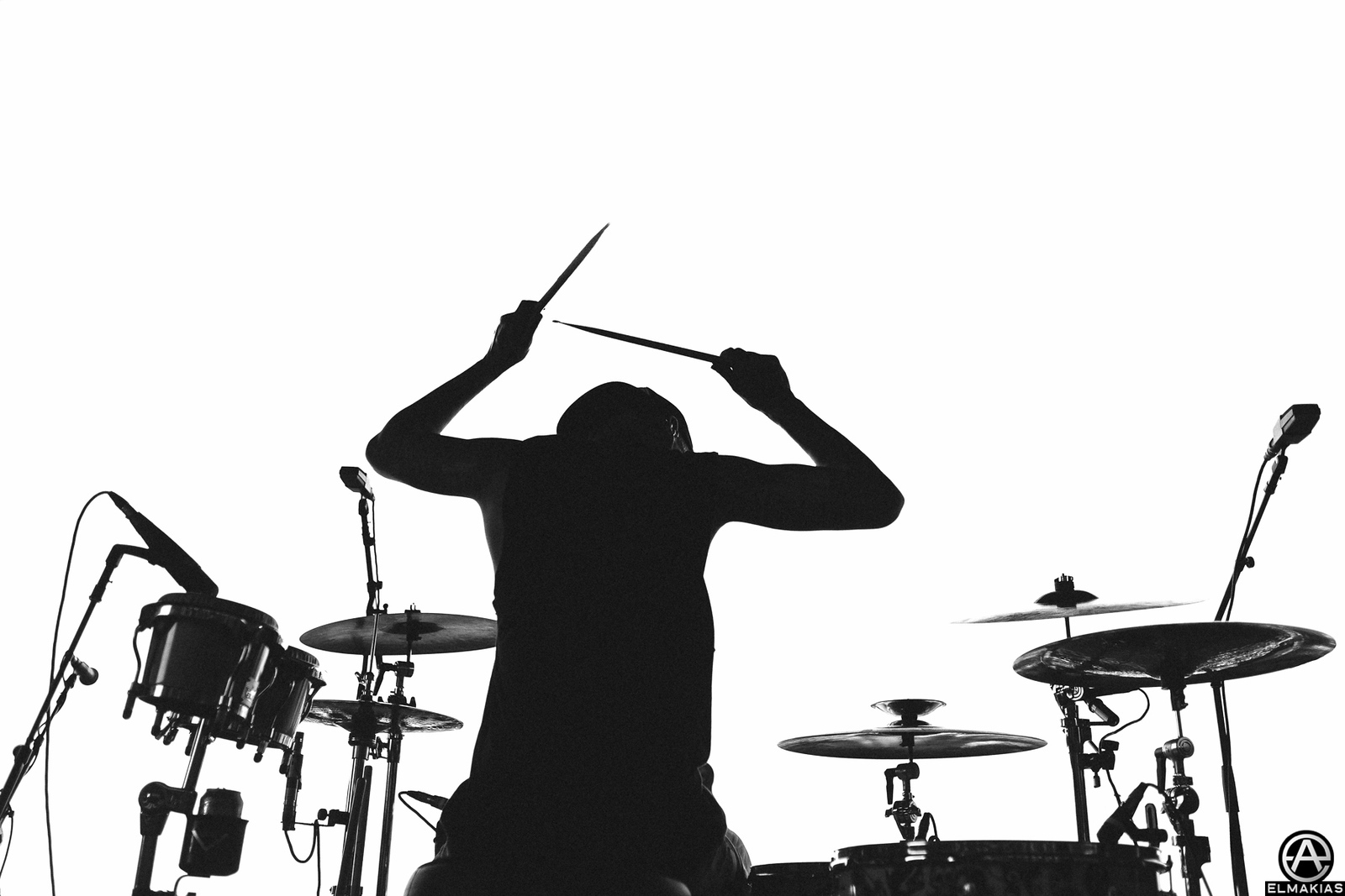 Mike Fuentes of Pierce the Veil's silhouette at Warped Tour 2015 by Adam Elmakias