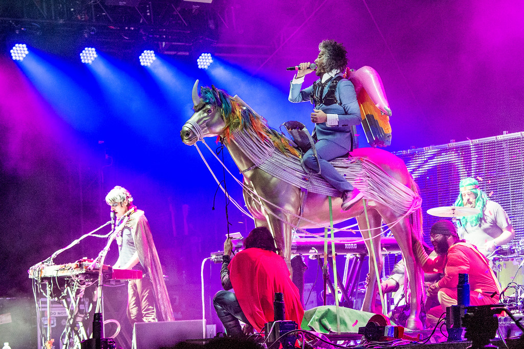 . The Flaming Lips -- shown at the Okeechobee Music and Arts Festival in Florida in March -- will perform Aug. 17 at the Agora in Cleveland. For more information, visit agoracleveland.com/events/detail/352519. (Photo by Amy Harris/Invision/AP)