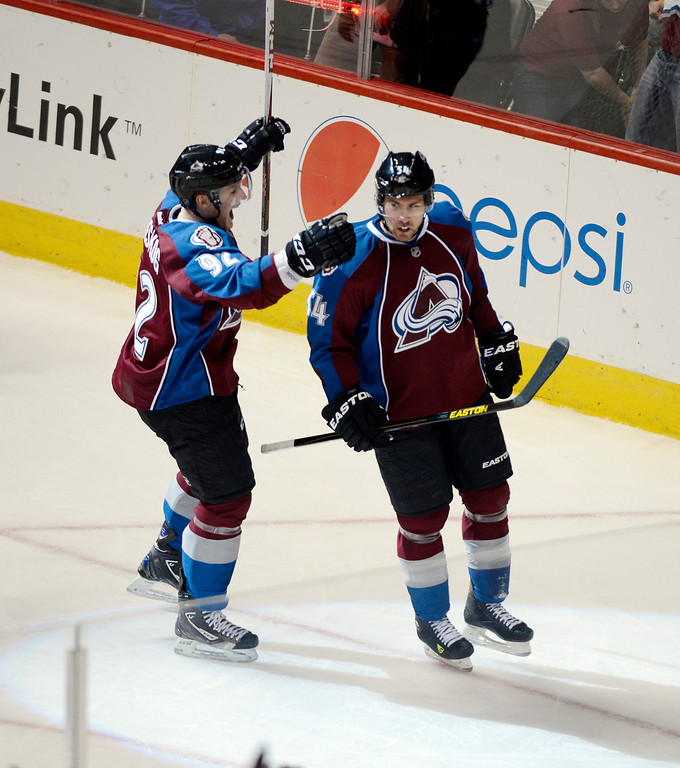 . DENVER, CO. - FEBRUARY 28: David Jones (54) of the Colorado Avalanche celebrates his goal with Gabriel Landeskog (92) of the Colorado Avalanche during the second period February 28, 2013 at Pepsi Center.(Photo By John Leyba/The Denver Post)