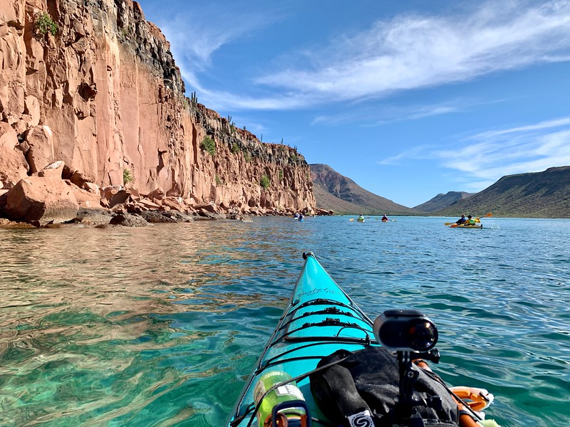 Kayak in calm waters while kayaking around Isla Espiritu Santo in Mexico