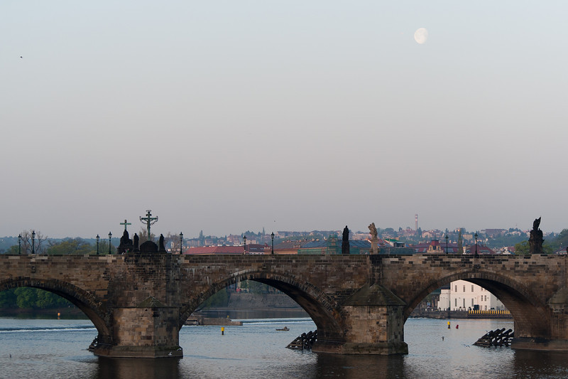 Wide shot of Charles Bridge in Prague, Czech Republic