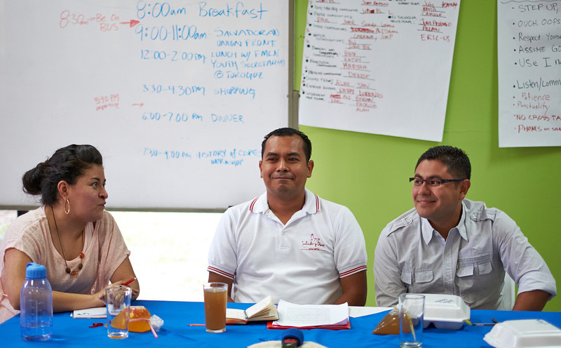 Members of the FMLN Youth Secretariat speak with Observer delegation.<br /> <br /> Youth secretariat, created three years ago, is attracting youth off the streets and diminishing gang violence by involving youth in community affairs.
