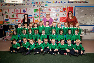 Teacher Miss Tiner, Classroom Assistants,Mrs Mc Connell,Miss Mc Evoy, St Ronan PS Newry,Primary 1 class.