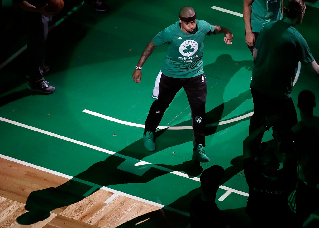 . Boston Celtics guard Isaiah Thomas is introduced before Game 2 of the NBA basketball Eastern Conference finals against the Cleveland Cavaliers, Friday, May 19, 2017, in Boston. (AP Photo/Elise Amendola)