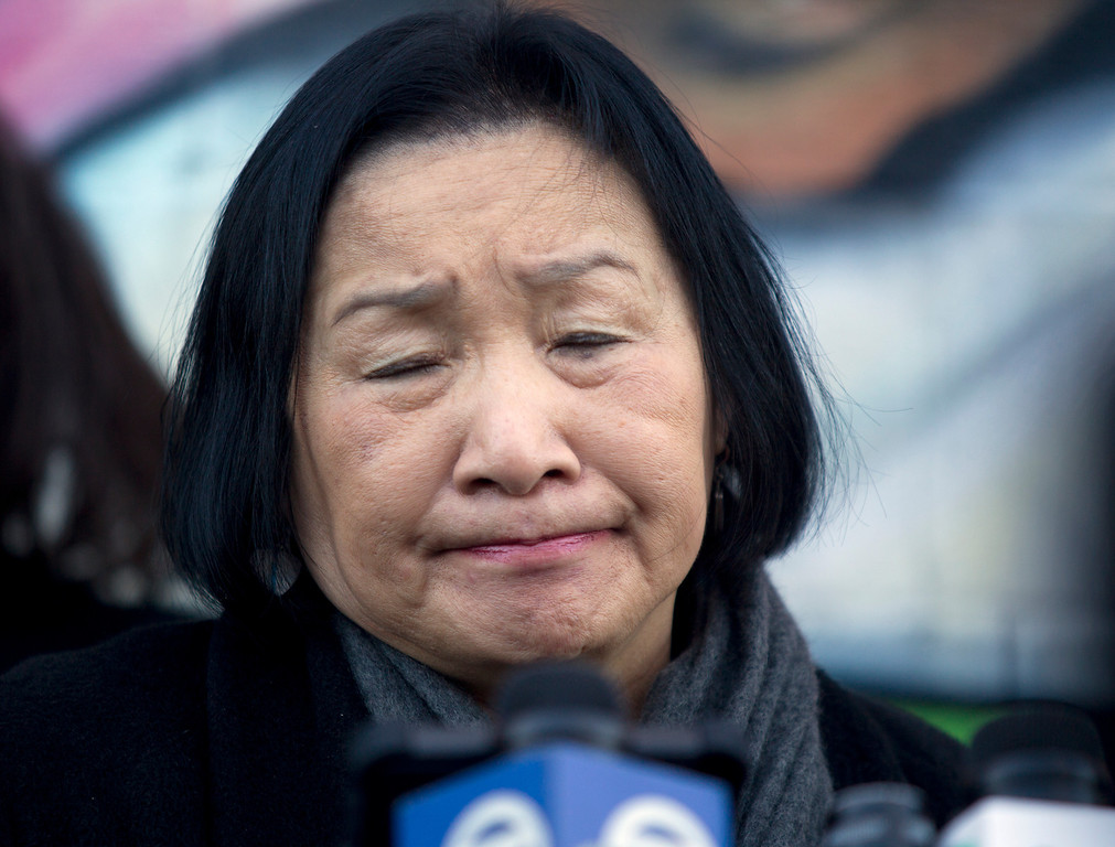 . Oakland, Calif. Mayor Jean Quan listens to a question at a press conference to discuss the recent spate of gun violence in the city and the police department\'s proposed response, Monday, Jan. 14, 2013 in Oakland. Police say that ninety percent of the shootings since summer 2012 can be attributed to two warring groups of young men. (D. Ross Cameron/Staff)