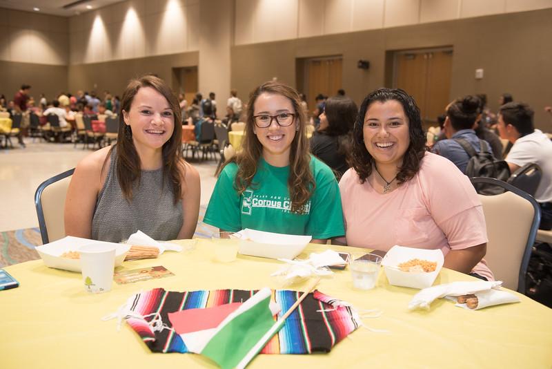 Heather De Selim (left), Mayra Rodriguez and Alissa Ramirez at the Hispanic Heritage Month Kick Off event.