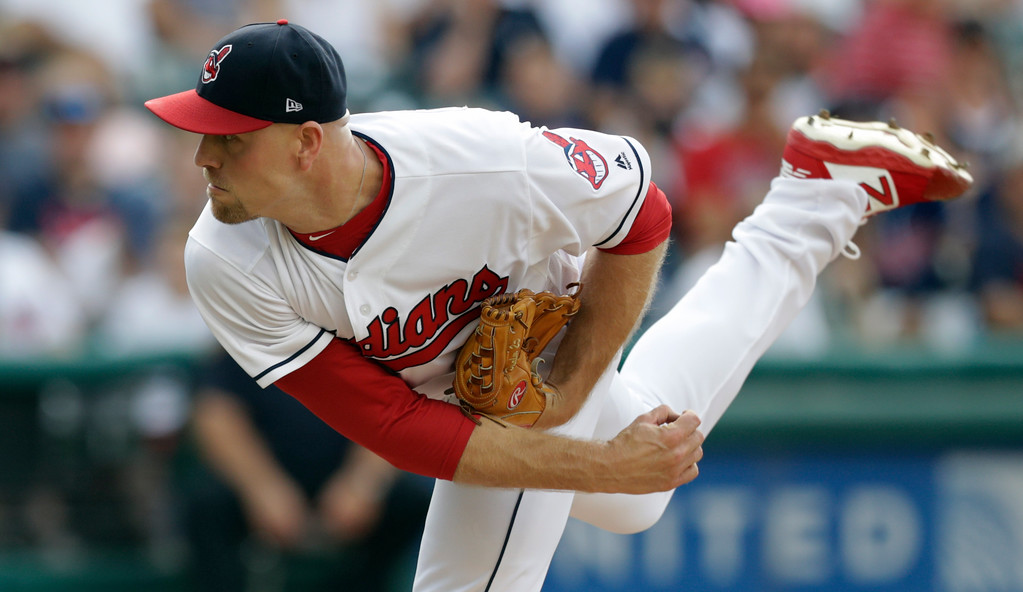 . Cleveland Indians relief pitcher Jon Edwards delivers in the eighth inning of a baseball game against the Kansas City Royals, Monday, Sept. 3, 2018, in Cleveland. (AP Photo/Tony Dejak)