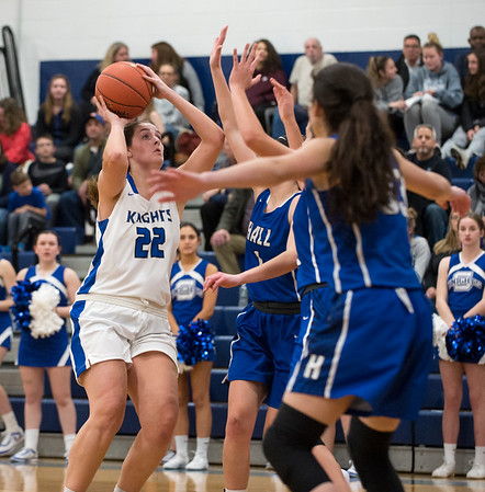 01/28/20 Wesley Bunnell | Staff Southington girls basketball defeated Hall in a home contest on Tuesday night. Kelley Marshall (22).