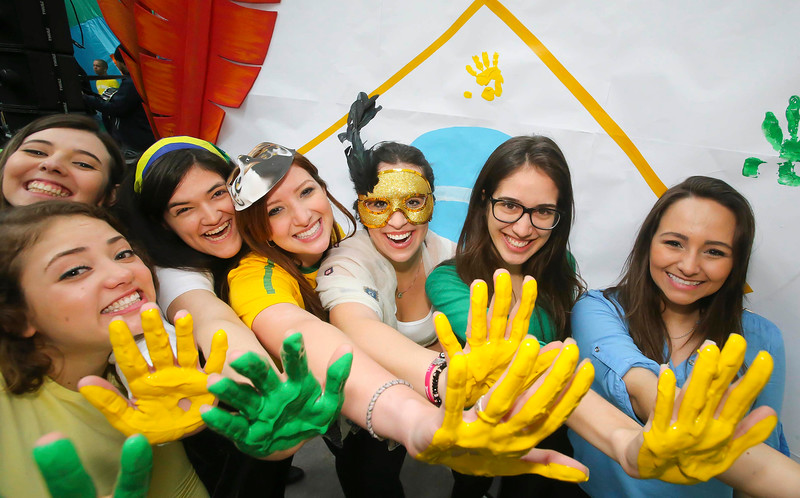 """04/03/2015. Free To Use Image. Pictured at WIT (Waterford Institute of Technology) where Brazilian students celebrated """"Carnaval"""". The students celebrated all things Brazilian. Pictured are students celebrating  Picture Patrick Browne."""