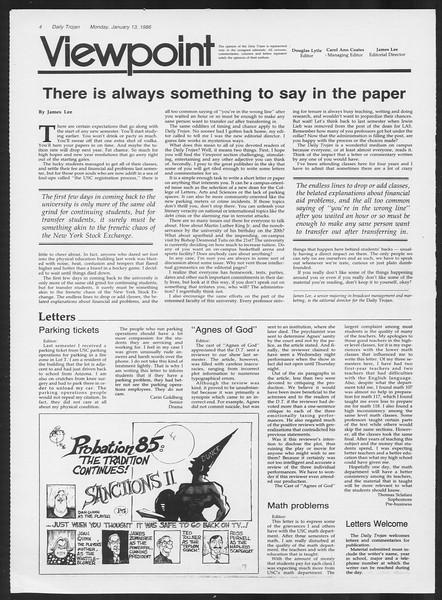 Daily Trojan, Vol. 100, No. 2, January 13, 1986