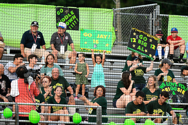 8/10/2018 Mike Orazzi | Staff New Jersey's fans during the Eastern Regional Little League Tournament at Breen Field in Bristol Friday night.