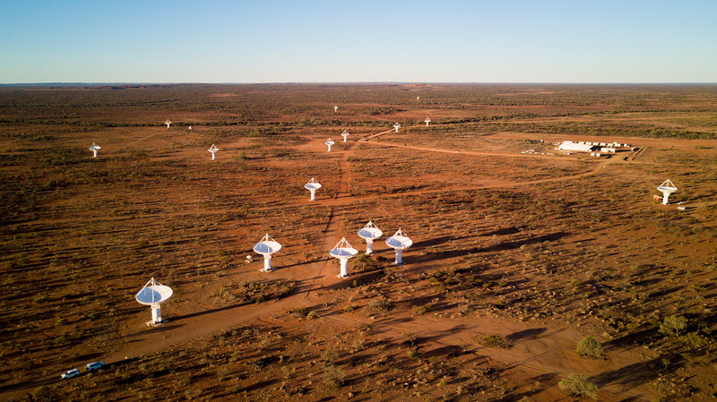 Some of the 36 dish antennas belonging to CSIRO's Australian Square Kilometre Array Pathfinder (ASKAP).